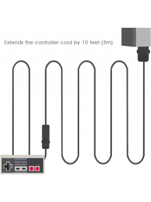 Younik NES Extension Cable- 9.8FT Extend Link for Nintendo Mini NES Classic Edition Controllers (2PCS, Black)