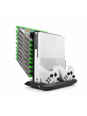 Younik XB-02 Xbox One S Vertical Stand Cooling Fan, Dual Controllers Charging Station, 18 Slots Game Storage and 4 Ports USB Hub. The 4-in-1 Cooler for your XBOX ONE S