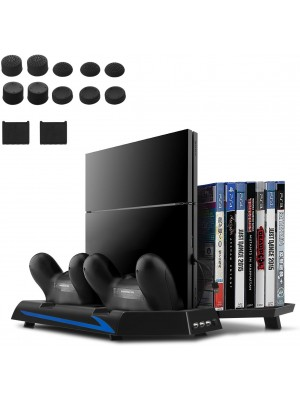 [Upgraded Version] Younik PS4 Vertical Stand Cooling Fan, Dual Controllers Charging Station, 14 Slots Game Storage and 3 Port USB Hub. The All-in-One Stand for your PS4